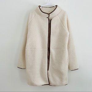 Cream Sherpa Long Coat Brown Trim Hem Zipper